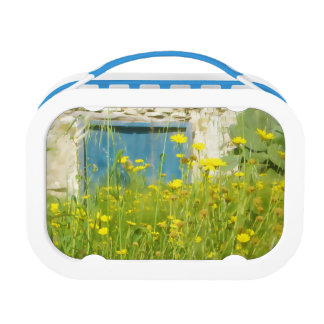 Yellow watercolor flowers lunch box