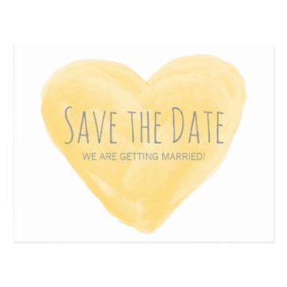 Yellow Watercolor Heart Save the Date Postcard