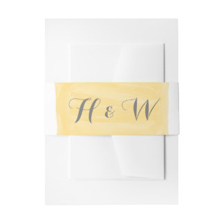 Yellow Watercolor Invitation Belly Band