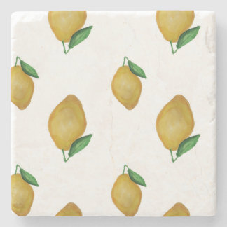 Yellow watercolor lemons design stone coaster