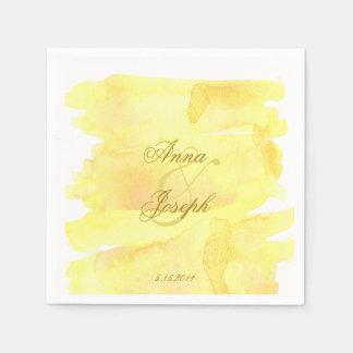 Yellow watercolor Napkins Disposable Serviettes
