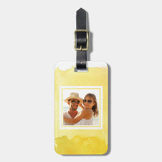Yellow Watercolor Paint | Add your Name Luggage Tag