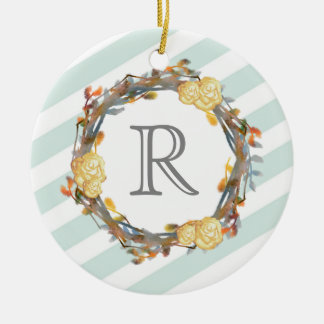 Yellow Watercolor Roses On A Twig Wreath Monogram Christmas Ornament