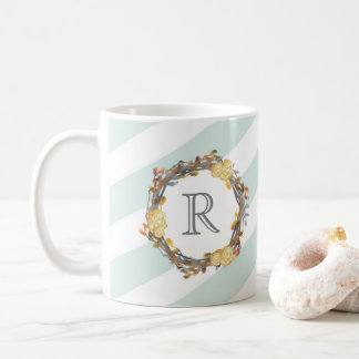 Yellow Watercolor Roses On A Twig Wreath Monogram Coffee Mug