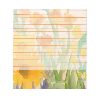 Yellow Watercolor Sunflowers Orange Lined Notepad