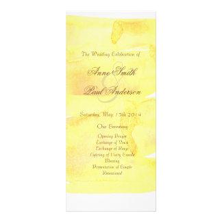 Yellow watercolor wedding program rack card