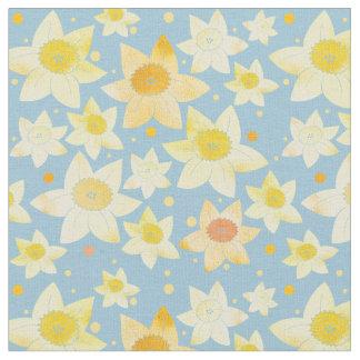 Yellow Watercolour Daffodil & Dots Pattern Fabric