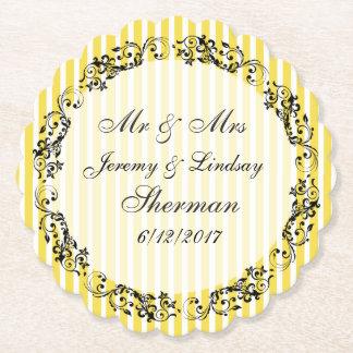 Yellow Wedding Personalized Custom Paper Coaster