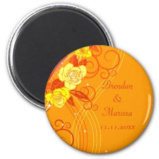 Yellow Wedding Roses Orange 6 Cm Round Magnet