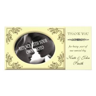 YELLOW Wedding Thank you photo card template
