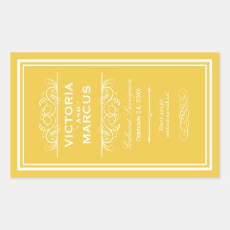 Yellow Wedding Wine Bottle Monogram Favor Labels