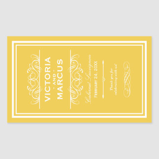 Yellow Wedding Wine Bottle Monogram Favor Labels Rectangular Sticker