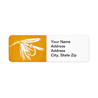 """Yellow Wet Fly"" Trout Fly Return Address Label"