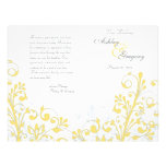 Yellow & White Abstract Floral Wedding Program