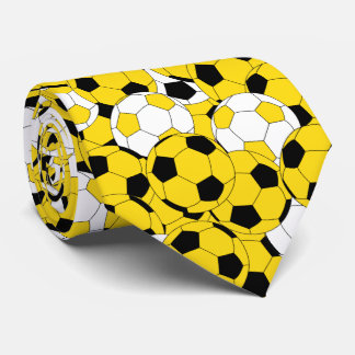 Yellow, White and Black Soccer Ball Collage Tie
