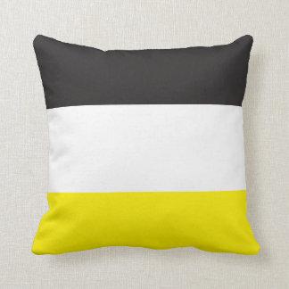 Yellow, White and Black Stripes Throw Cushion