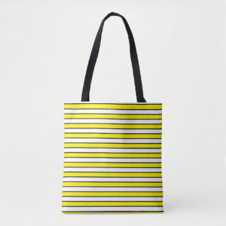 Yellow, White and Black Stripes Tote Bag