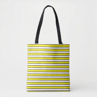 Yellow, White and Black Stripes Tote Bag