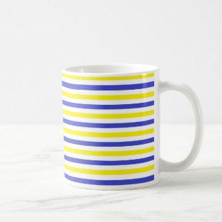 Yellow, White and Blue  Stripes Basic White Mug