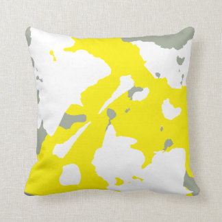 Yellow White and Grey abstract grey solid back Throw Pillow