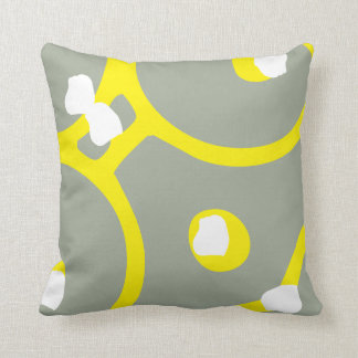Yellow White and Grey abstract pattern pillow