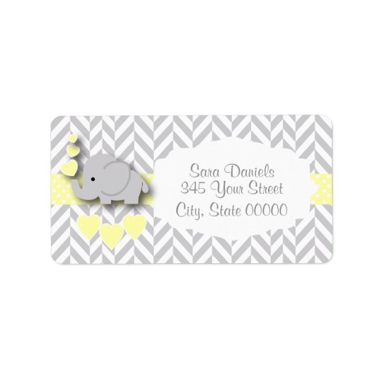 Yellow, White and Grey Elephant Baby Shower Label