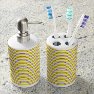 Yellow White and Purple Stripes Soap Dispenser And Toothbrush Holder