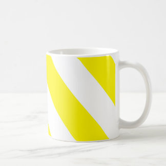 Yellow White Attention Warning Stripes Basic White Mug