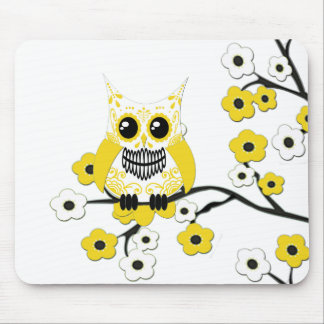 Yellow White Cherry Blossoms Owl Mousepad