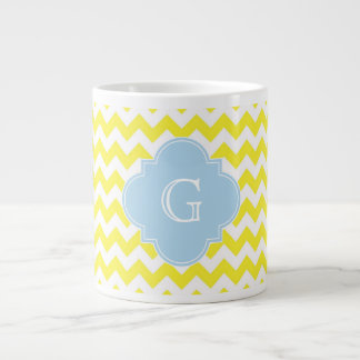 Yellow White Chevron Lt Blue Quatrefoil Monagram 20 Oz Large Ceramic Coffee Mug