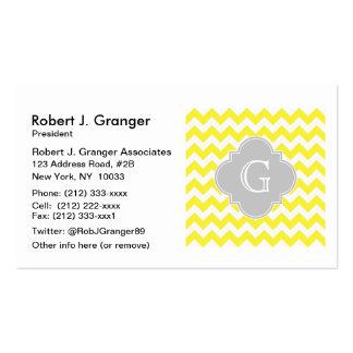 Yellow White Chevron Lt Gray Quatrefoil Monogram Pack Of Standard Business Cards