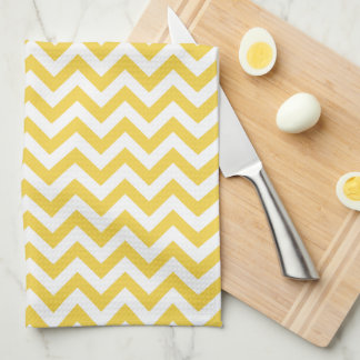 Yellow White Chevron Pattern Tea Towel