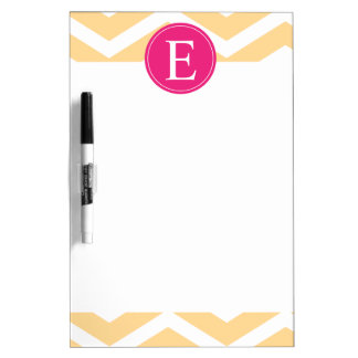 Yellow White Chevron Pink Monogram Dry Erase Board
