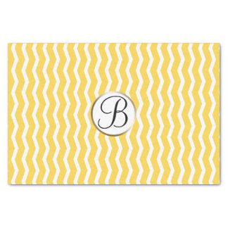 Yellow White Chevron Print Monogram Letter Initial Tissue Paper