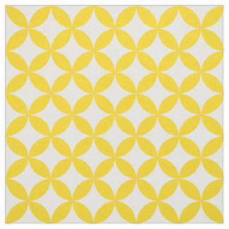 Yellow White Circles and Diamonds Pattern Fabric