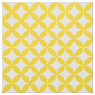 Yellow White Circles and Diamonds Pattern Fabric