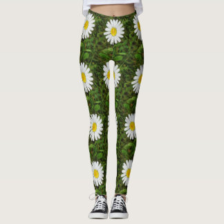Yellow White Daisy Flowers Floral Photography Leggings
