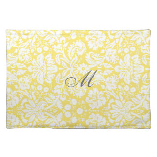 Yellow White Damask Monogram Floral Place Mats