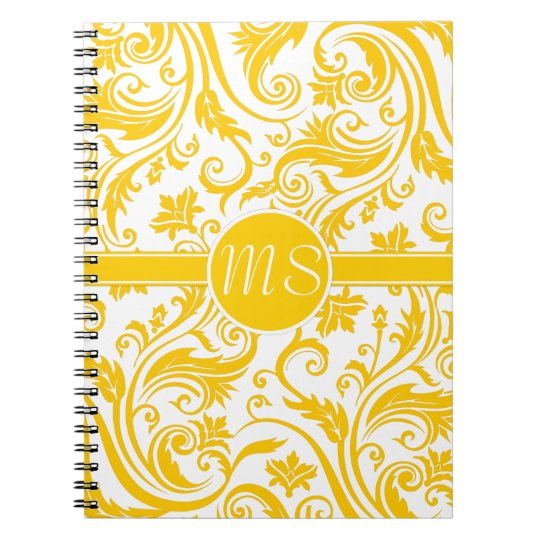 Yellow White Damask Monogram Notebook