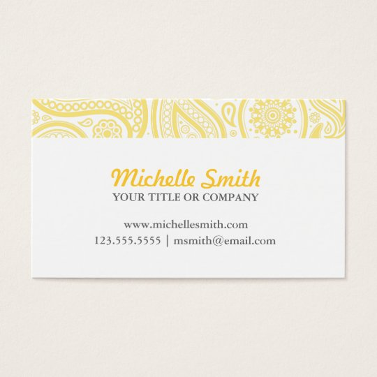 Yellow White Elegant Paisley Business Card