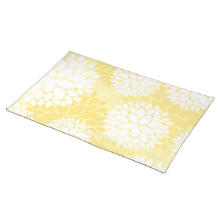 Yellow White Floral Monogram Pattern Placemat