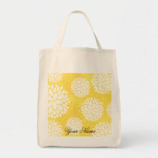Yellow White Floral Monogram Pattern Tote Bag
