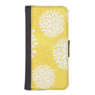 Yellow White Floral Pattern iPhone SE/5/5s Wallet Case