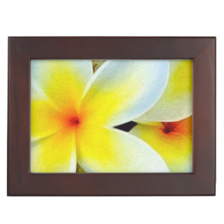 Yellow White Flowers Keepsake Boxes