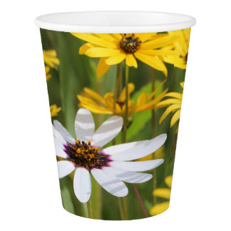 Yellow White flowers Sunny Party Paper Cup