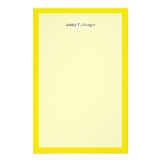 Yellow White Framed Initial Monogram Personalized Stationery