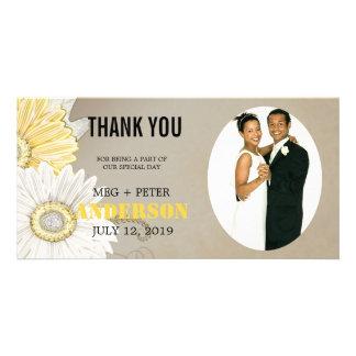 Yellow White Gerbera Daisy Wedding Photo Thank You Custom Photo Card