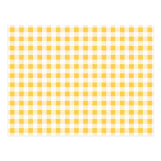 Yellow White Gingham Pattern Postcard