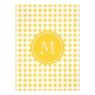 Yellow White Gingham Pattern Your Monogram Custom Announcements