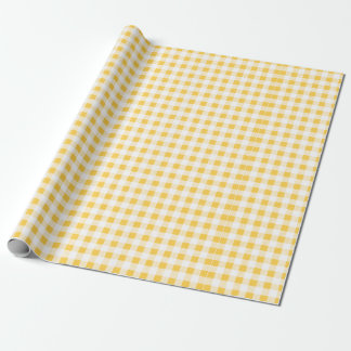 Yellow White Gingham Pattern, Your Monogram Wrapping Paper